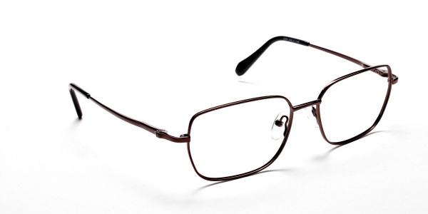Rectangular Eyeglasses in Brown, Eyeglasses - 2