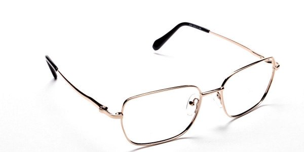 Rectangular Eyeglasses in Gold, Eyeglasses - 2