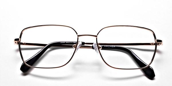 Rectangular Eyeglasses in Gold, Eyeglasses - 6