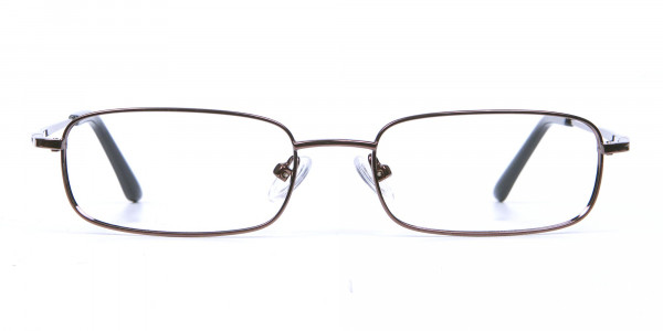 Rectangular Eyeglasses in Brown, Eyeglasses - 1