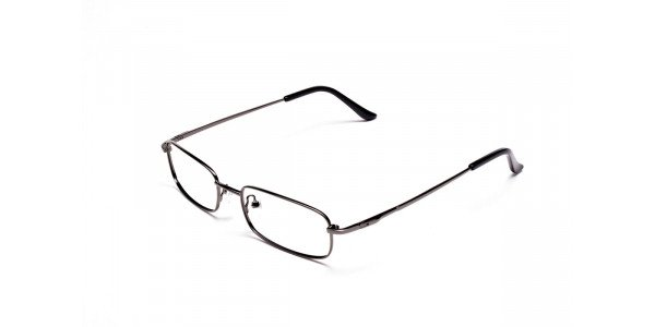 Rectangular Eyeglasses in Gunmetal, Eyeglasses - 3