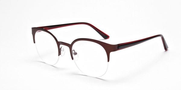 Browline Eyeglasses in Burgundy, Eyeglasses - 3