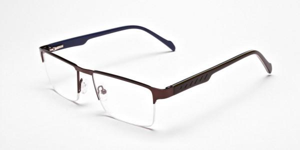Rectangular brown Glasses, Eyeglasses -3
