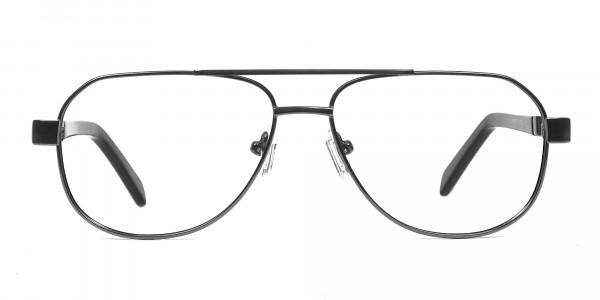 Flat Nose Bridge Glasses Gunmetal Aviator