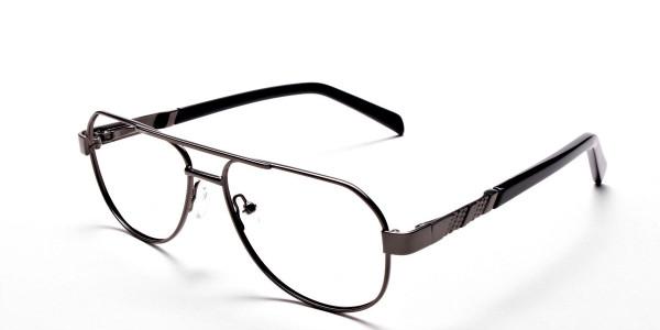 Gunmetal Aviator Glasses, Eyeglasses -3