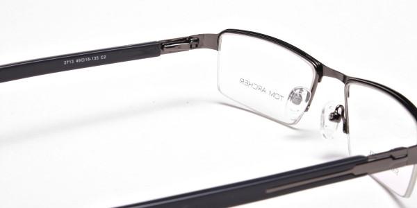 Gunmetal Rectangular Glasses, Eyeglasses -5