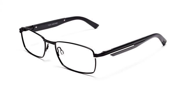 Black Matte Rectangular Glasses -3