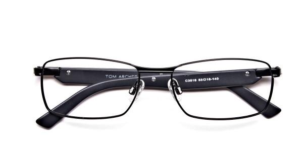 Black Matte Rectangular Glasses -5