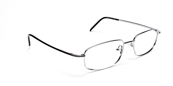 Silver Rectangular Eyeglasses Frame in Metal  - 2