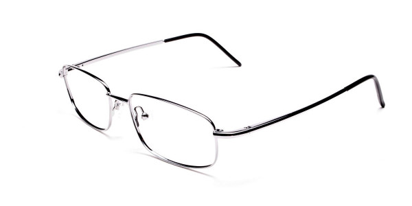 Silver Rectangular Eyeglasses Frame in Metal - 3