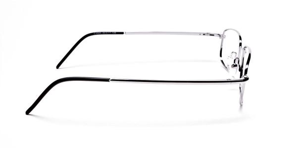 Silver Rectangular Eyeglasses Frame in Metal  - 4