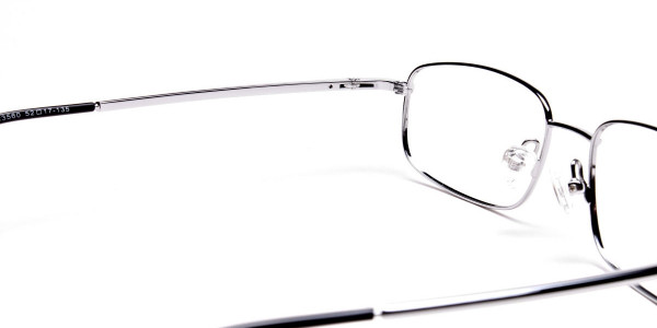 Silver Rectangular Eyeglasses Frame in Metal  - 5