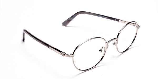 Round Glasses in Gunmetal, Eyeglasses - 2