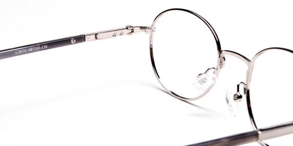 Round Glasses in Gunmetal, Eyeglasses - 5
