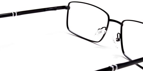 Rectangular Glasses in Black & Silver -5