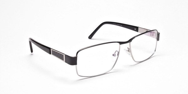 Rectangular Glasses in Black & Silver -2