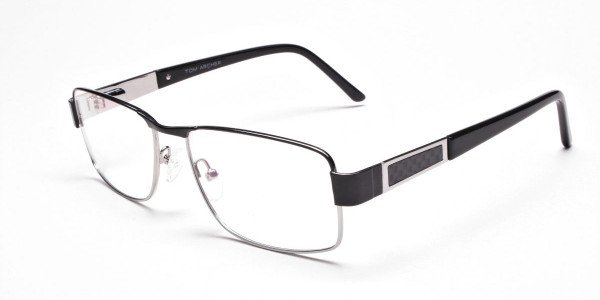 Rectangular Glasses in Black & Silver-3