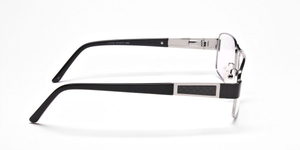 Rectangular Glasses in Black & Silvern -4