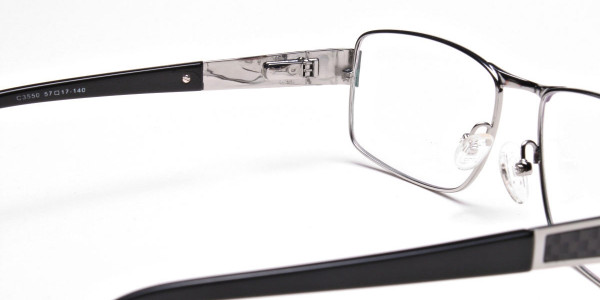 Rectangular Glasses in Black & Silver -5