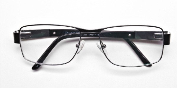 Rectangular Glasses in Black & Silver-6