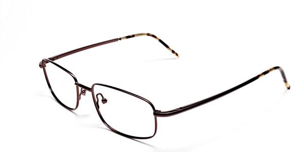 Rectangular Eyeglasses in Brown, Eyeglasses - 3