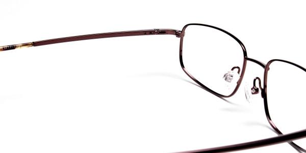 Rectangular Eyeglasses in Brown, Eyeglasses - 5
