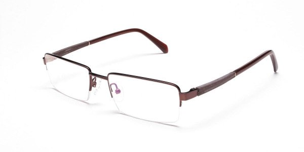 Rectangular Glasses in Brown, Eyeglasses -3