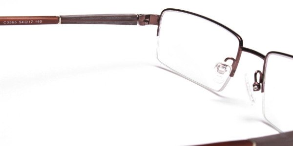 Rectangular Glasses in Brown, Eyeglasses -5