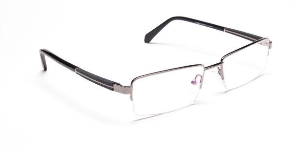 Gunmetal Rectangular Glasses, Eyeglasses -2