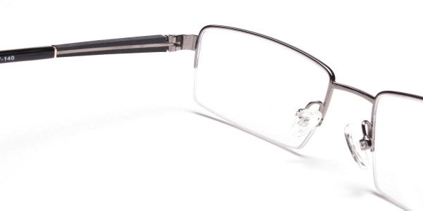Gunmetal Rectangular Glasses, Eyeglasses -5