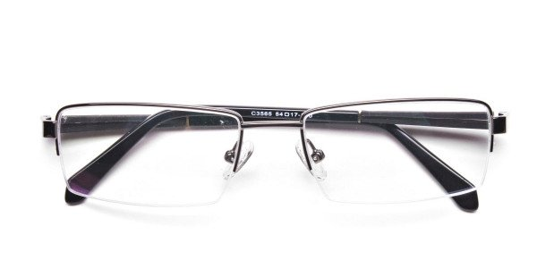 Gunmetal Rectangular Glasses, Eyeglasses -6