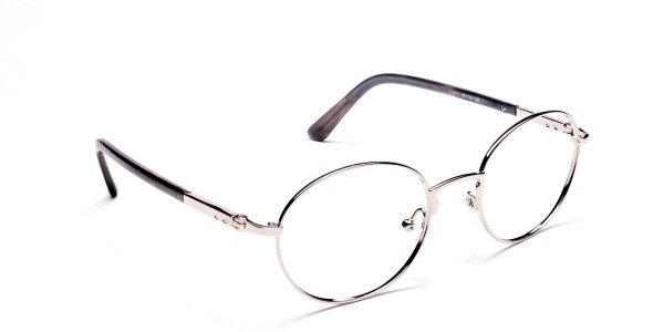 Round Silver Metal Glasses - 2