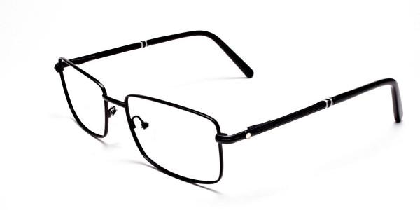Rectangular Glasses in Black & Silver -3