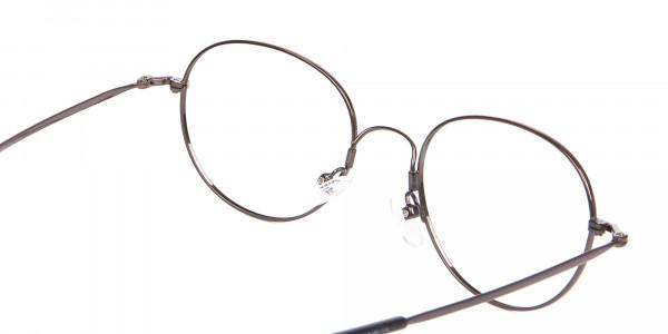 Thin Metal Retro Round Frame in Brown-5