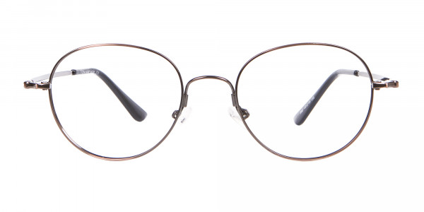 Thin Metal Retro Round Frame in Brown-1