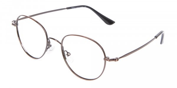 Thin Metal Retro Round Frame in Brown-3