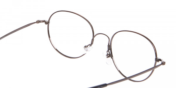 Thin Metal Retro Round Frame in Brown-5