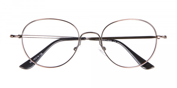 Thin Metal Retro Round Frame in Brown-6