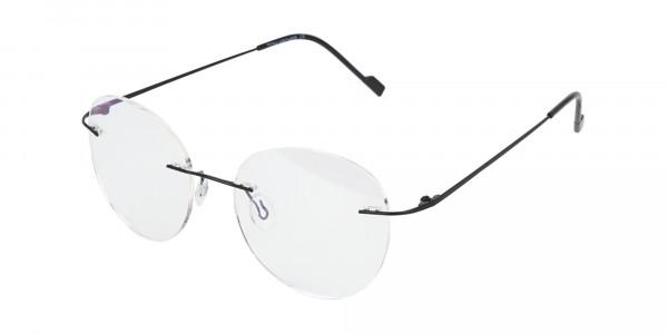 Black Rimless Round Glasses-3