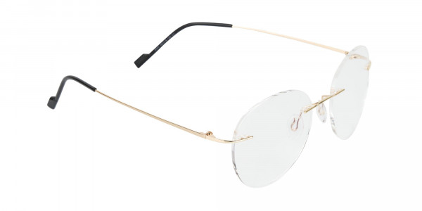 Round Rimless Glasses Gold - 2