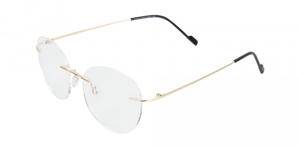 Gold Rimless Round Glasses-3