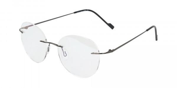 Gunmetal Rimless Round Glasses-3
