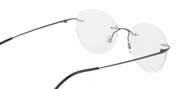 Gunmetal Rimless Round Glasses-5