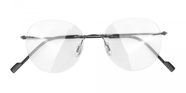 Gunmetal Rimless Round Glasses-6