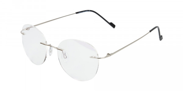 Silver Rimless Round Glasses in Metal-3