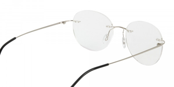 Silver Rimless Round Glasses in Metal-5