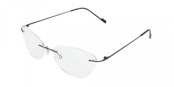 Rimless Cat-Eye Glasses in Brown Metal-3