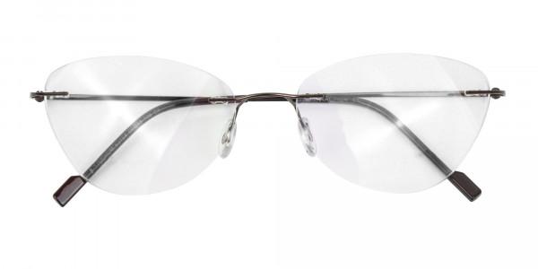 Rimless Cat-Eye Glasses in Brown Metal-6