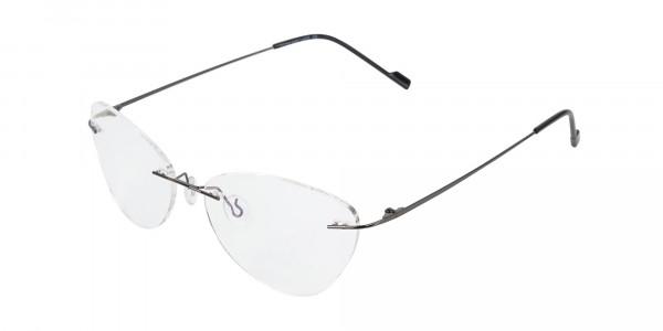 Gunmetal Rimless Cat-Eye Glasses -3