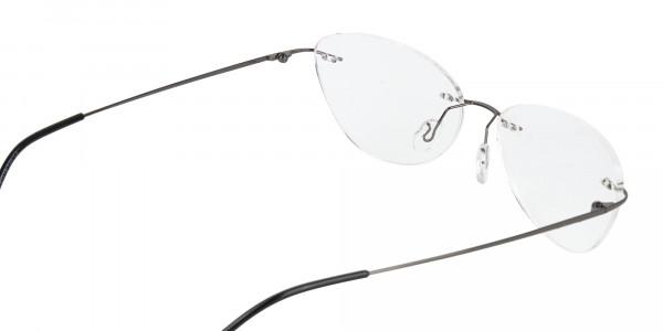 Gunmetal Rimless Cat-Eye Glasses -5